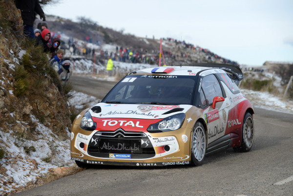 Sebastien Loeb (FRA) and Daniel Elena (MC), Citroen DS3 WRC on stage 3. FIA World Rally Championship, Rd1, Rally Monte Carlo, Day One, Monte Carlo, 16 January 2013.