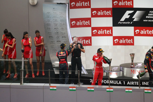 podium celebratations. Formula One World Championship, Rd17, Indian Grand Prix, Buddh International Circuit, Greater Noida, New Delhi, India, Race, Sunday 28 October 2012.