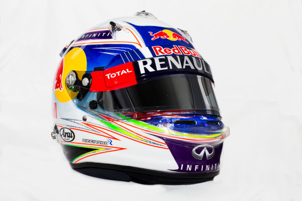 Circuito de Jerez, Jerez, Spain. Tuesday 3 February 2015. Helmet of Daniel Ricciardo, Red Bull Racing.  World Copyright: Red Bull Racing (Copyright Free FOR EDITORIAL USE ONLY) ref: Digital Image 2015_RED_BULL_HELMET_08