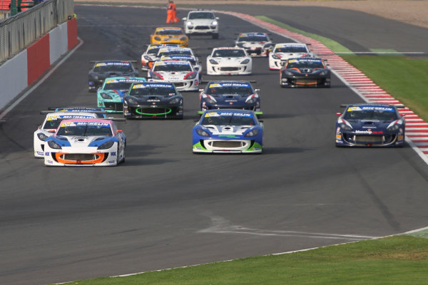 2014 Ginetta GT4 Supercup, Silverstone, England. 27th-28th September 2014. The start of the race World Copyright: Ebrey / LAT Photographic.