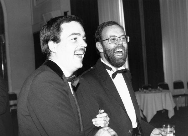 1989 Autosport Awards. Cafe Royal, London, England. 4th January 1990.. Peter Foubister and David Llewellin share a joke, portrait.  World Copyright: LAT Photographic. Ref: B/W Print.
