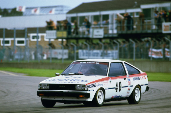 1982 British Saloon Car Championship. Donington Park, England. 3rd - 4th July 1982. Rd 7. Win Percy (Toyota Corolla GT), 6th position, action.  World Copyright: LAT Photographic. Ref:  Colour Transparency.
