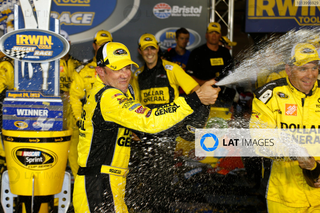 23-24 August, 2013, Bristol, Tennessee USA Matt Kenseth and his crew celebrate their victory with champagne ©2013, Lesley Ann Miller LAT Photo USA