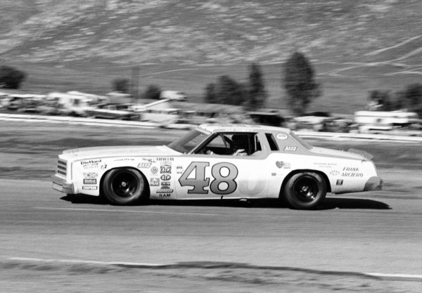 1980 NASCAR Winston Cup Series.Winston Western 500, Riverside, California. 19th January 1980.Dan Gurney (Chevrolet Monte Carlo), retired, action. This was Gurney's last ever competitive race.World Copyright: LAT Photographic.Ref: B/W Print.