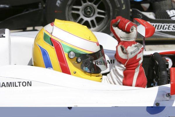 2006 GP2 Series. Round 10.Istanbul Park, Istanbul Turkey.27th August 2006.Sunday Race.Lewis Hamilton (GBR, ART Grand Prix) celebrates his second position. World Copyright: Lorenzo Bellanca/GP2 Series Media Service.ref: Digital Image ZD2J8596