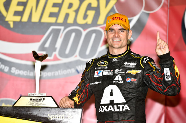 9-10 May, 2014, Kansas City, Kansas USA Jeff Gordon celebrates his win in Victory Lane © 2014, Nigel Kinrade LAT Photo USA