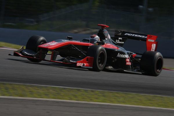 2014 Super Formula Series. Fuji, Japan. 17th - 18th May 2014. Rd 2. Race 1 - Winner Joao Paulo de Oliveira ( #19 Lenovo TEAM IMPUL SF14 ) action World Copyright: Yasushi Ishihara / LAT Photographic. Ref: 2014SF_Rd2_003.JPG