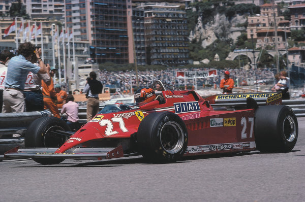 Monte Carlo. 28-31 May 1981. Gilles Villeneuve (Ferrari 126CK) 1st position.  Ref: 81MON57. World Copyright - LAT Photographic