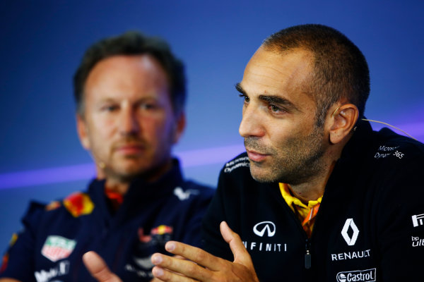 Spa Francorchamps, Belgium.  Friday 25 August 2017. Christian Horner, Team Principal, Red Bull Racing, and Cyril Abiteboul, Managing Director, Renault Sport F1, in the Team Principals Press Conference. World Copyright: Andy Hone/LAT Images  ref: Digital Image _ONZ9454