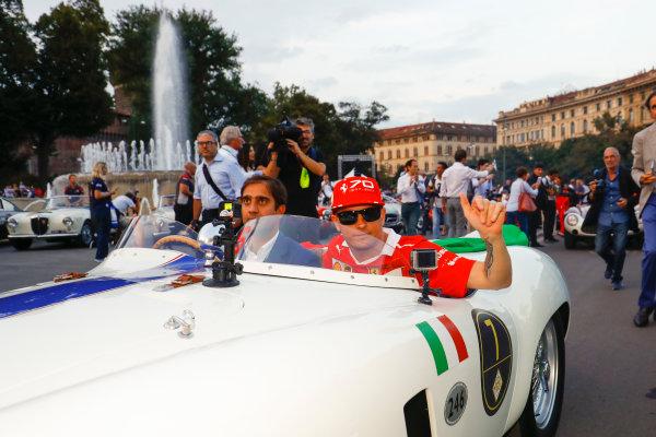 Autodromo Nazionale di Monza, Italy. Thursday 31 August 2017. Kimi Raikkonen, Ferrari, at the parade in Milan. World Copyright: Steven Tee/LAT Images  ref: Digital Image _R3I2513