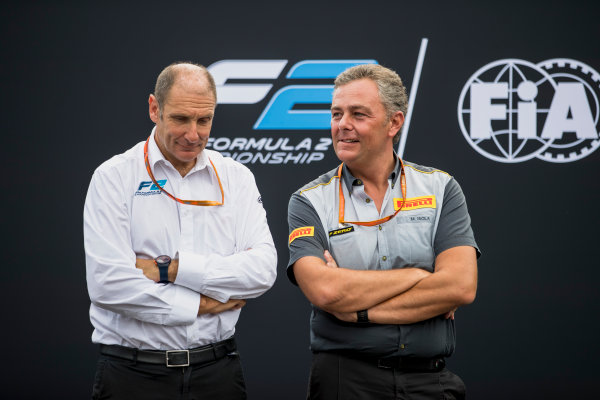 Autodromo Nazionale di Monza, Monza, Italy. Thursday 31 August 2017. Bruno Michel and Mario Isola. Photo: Zak Mauger/FIA Formula 2. ref: Digital Image _54I4987