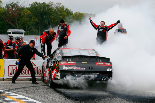 NASCAR XFINITY Series Johnsonville 180 Road America, Elkhart Lake, WI USA Sunday 27 August 2017 Jeremy Clements, RepairableVehicles.com Chevrolet Camaro celebrates his win with a burnout  World Copyright: Russell LaBounty LAT Images