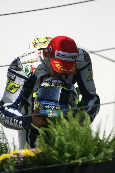 Misano, Italy. 4th - 6th September 2009.Valentino Rossi Fiat Yamaha Team celebrates on the podium.World Copyright: Martin Heath/LAT Photographicref: Digital Image SE5K9278