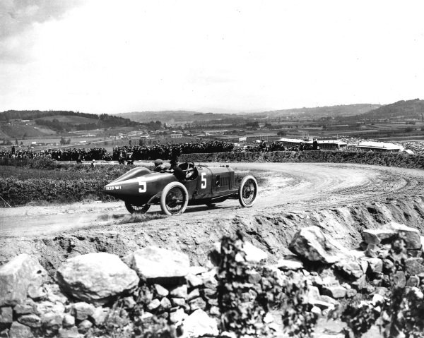 Lyons, France.4 July 1914.Georges Boillot (Peugeot EX5).Ref: Autocar Glass Plate 1235. World Copyright - LAT Photographic