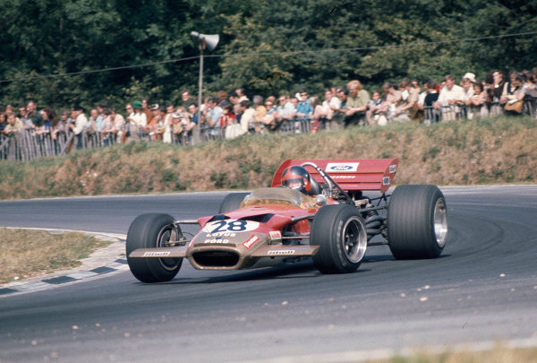 1970 British Grand Prix.Brands Hatch, England.16-18 July 1970.Emerson Fittipaldi (Lotus 49C Ford) 8th position on his Grand Prix debut.Ref-70 GB 13.World Copyright - LAT Photographic