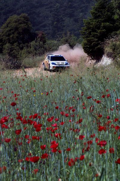 Markko Martin in action in the Ford Focus WRC03, Acropolis Rally 2003.Photo: McKlein/LAT