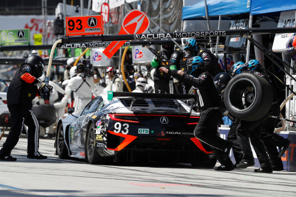 2017 IMSA WeatherTech SportsCar Championship BUBBA burger Sports Car Grand Prix at Long Beach Streets of Long Beach, CA USA Saturday 8 April 2017 93, Acura, Acura NSX, GTD, Andy Lally, Katherine Legge, pit stop World Copyright: Michael L. Levitt LAT Images ref: Digital Image levitt-0417-lbgp_08145