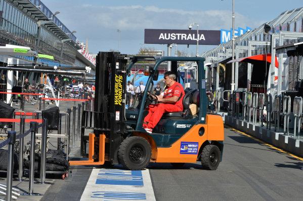 Forklift truck in pit lane. Formula One World Championship, Rd1, Australian Grand Prix, Preparations, Albert Park, Melbourne, Australia, Wednesday 12 March 2014.