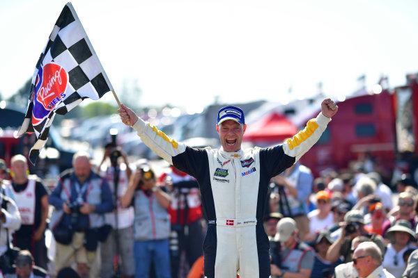 26-28 August, 2016, Alton, Virginia USA 3, Chevrolet, Corvette C7, GTLM,  Jan Magnussen celebrates in Victory Lane. ©2016, Richard Dole LAT Photo USA