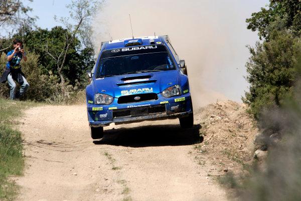2005 World Rally Championship Rallye d'Italia, Sardinia, Italy. 29th April - 1st May 2005Petter Solberg (Subaru Impreza WRC 05), action.World Copyright: McKlein/LAT Photographic ref: Digital Image Only