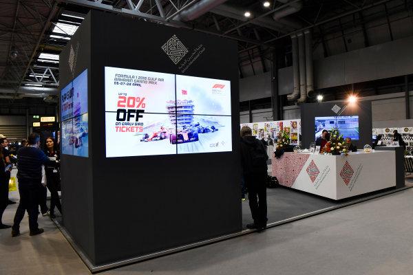 Autosport International Exhibition. National Exhibition Centre, Birmingham, UK. Friday 12th January 2018. The Bahrain International Circuit stand.World Copyright: Mark Sutton/Sutton Images/LAT Images Ref: DSC_8117