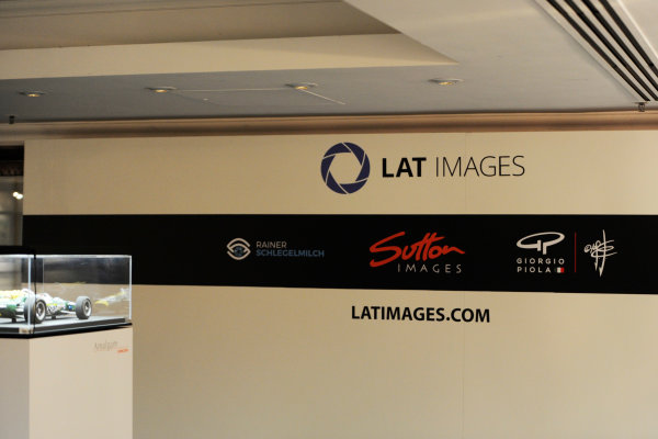 2017 Autosport Awards Grosvenor House Hotel, Park Lane, London. Sunday 3 December 2017. LAT Images logos behind an Amalgam model. World Copyright: Ashleigh Hartwell/LAT Images Ref: Digital Image _AKH2241