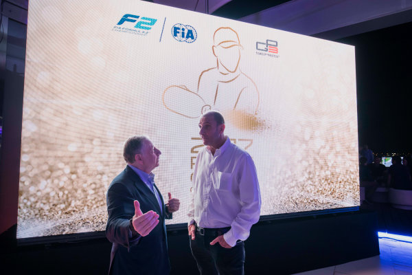 2017 Awards Evening. Yas Marina Circuit, Abu Dhabi, United Arab Emirates. Sunday 26 November 2017. Jean Todt, President, FIA with Bruno Michel. Photo: Zak Mauger/FIA Formula 2/GP3 Series. ref: Digital Image _56I3573