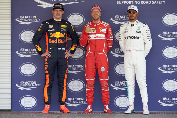 Autodromo Hermanos Rodriguez, Mexico City, Mexico. Saturday 28 October 2017. Top three qualifiers Sebastian Vettel, Ferrari, Max Verstappen, Red Bull, and Lewis Hamilton, Mercedes AMG. World Copyright: Steve Etherington/LAT Images  ref: Digital Image SNE13751