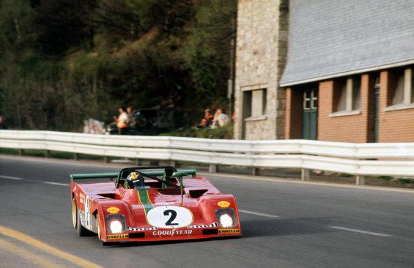 Spa-Francorchamps, Belgium. 6th May 1973. Rd 5.Carlos Pace/Arturo Merzario (Ferrari 312PB), 4th position, action. World Copyright: LAT Photographic.Ref:  73SPA