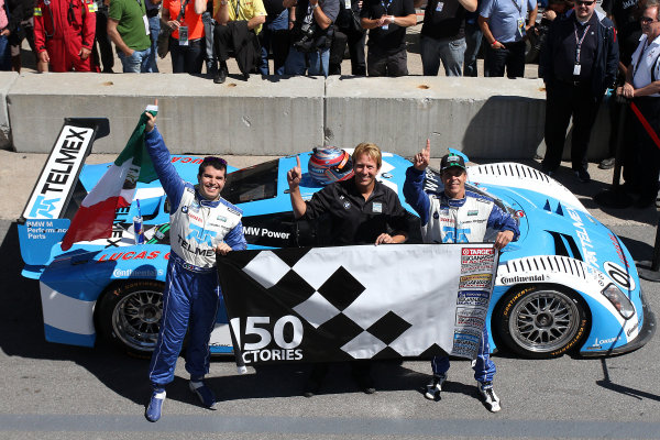 16-18 August, 2012, Montreal, Quebec, CanadaLeft to right, Memo Rojas, team manager Tim Keene,  and Scott Pruett celebrate in victory lane after Chip Ganassi racing's 150th Grand-Am win.(c)2012, R D. EthanLAT Photo USA
