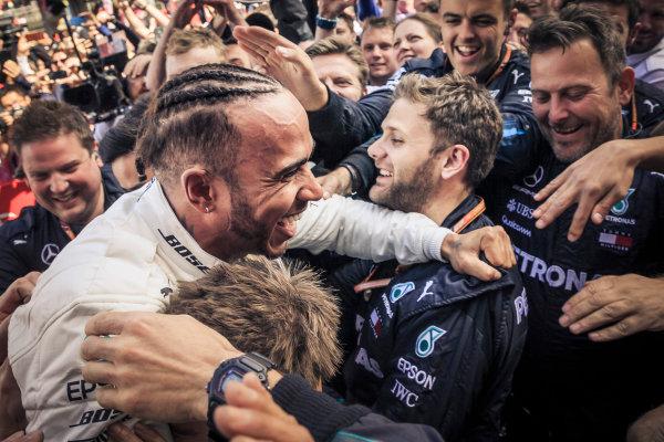 Lewis Hamilton (GBR) Mercedes-AMG F1 celebrates in parc ferme