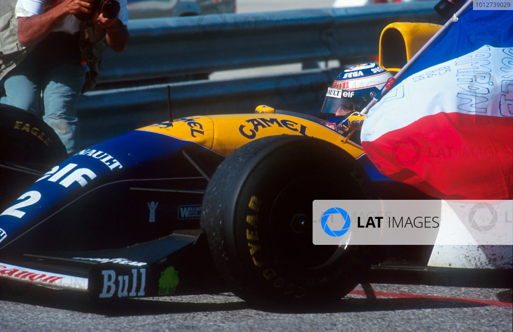 1993 Portuguese Grand Prix.Estoril, Portugal.24-26 September 1993.Alain Prost (Williams FW15C Renault) 2nd position in the race and winner of the Drivers World Championship.Ref-93 POR 08.World Copyright - LAT Photographic
