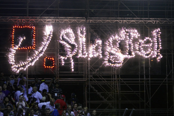 Sponsor SingTel with a glittering advertising light show after the race.
