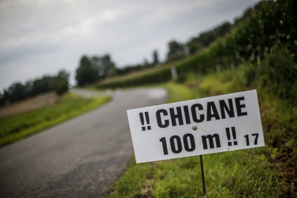 Chicane 100m sign at World Rally Championship, Rd10, Rally Deutschland, Preparations and Shakedown, Bostalsee, Germany, 17 August 2017.