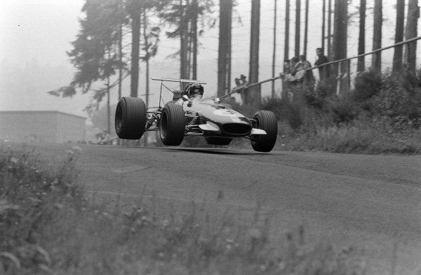 Jochen Rindt, Brabham BT26 Repco, gets airborne.