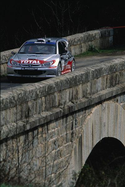 2002 World Rally ChampionshipTour De Corse, Corsica. 8th - 10th March 2002.Richard Burns / Robert Reid, Peugeot 206 WRC, action.World Copyright: McKlein/LAT Photographicref: 35mm Image 02 WRC 09
