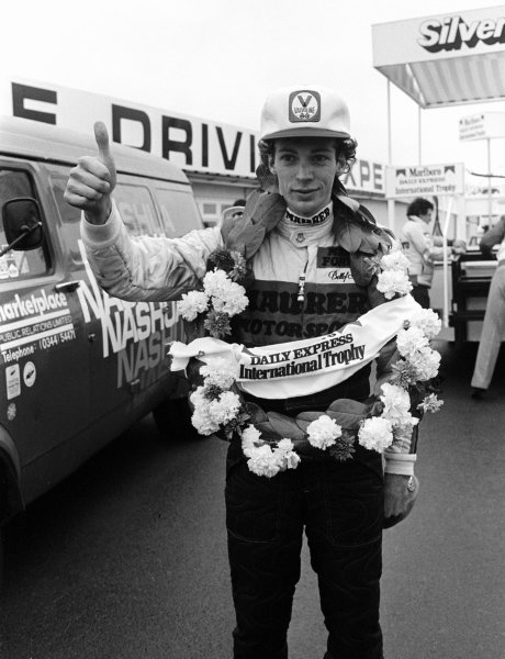 Stefan Bellof (GER), celebrates his win. Formula Two Championship, Rd1, Marlboro/Daily Express International Trophy, Silverstone, England. 21 March 1982.