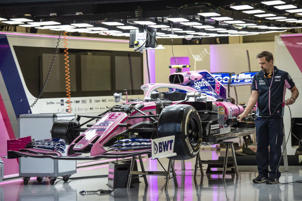 The car of Lance Stroll, Racing Point RP19, in the garage