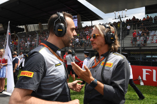 Max Damiani (ITA) Pirelli (right) on the grid at Formula One World Championship, Rd9, Austrian Grand Prix, Race, Spielberg, Austria, Sunday 9 July 2017.