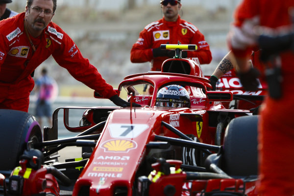 Kimi Raikkonen, Ferrari SF71H, arrives on the grid