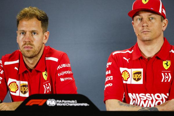 Sebastian Vettel, Ferrari, and Kimi Raikkonen, Ferrari, in the press conference