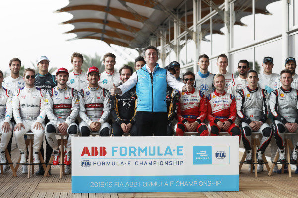Alejandro Agag, CEO, Formula E, poses for a photo with the drivers