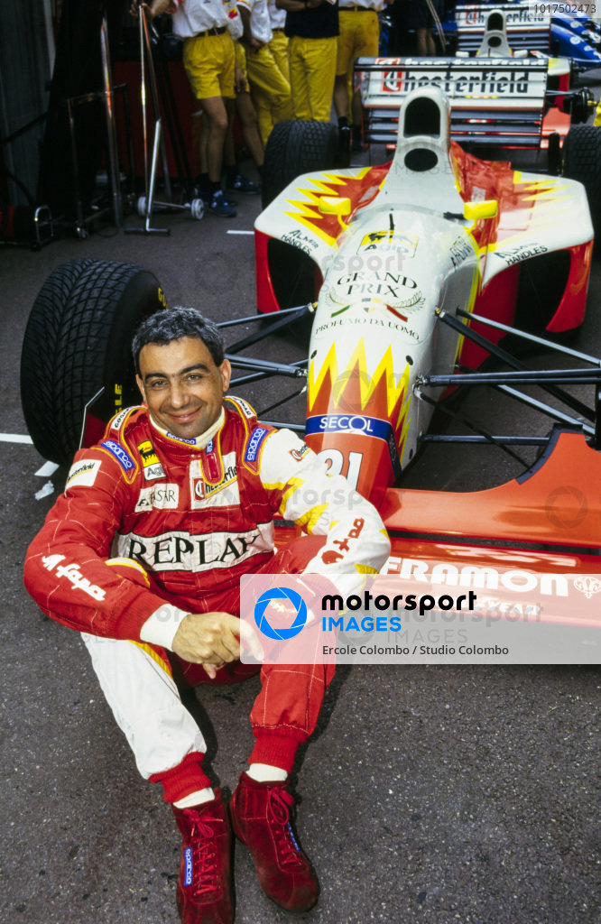 Michele Alboreto sits in front of his Lola T93/30 Ferrari.