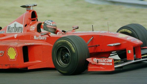 1998 Hungarian Grand Prix.Hungaroring, Budapest, Hungary.14-16 August 1998.Michael Schumacher (Ferrari F300) 1st position.World Copyright - Steve Etherington/LAT Photographic