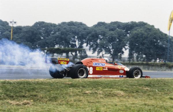 Didier Pironi, Ferrari 126CK, with smoke at the rear.