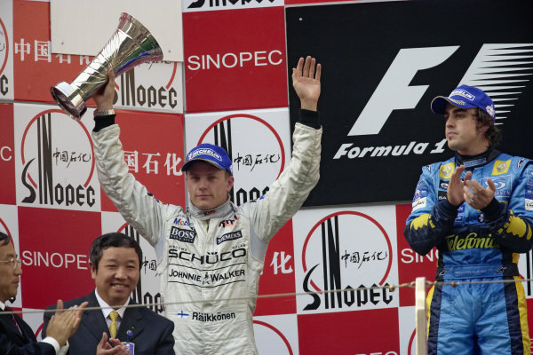 Kimi Räikkönen celebrates 2nd position on the podium.
