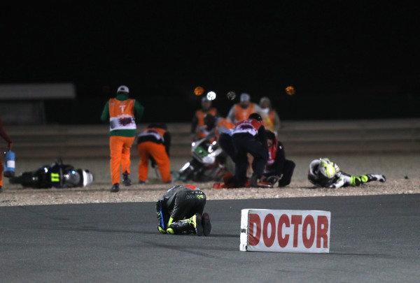 Nicolo Bulega, Sky Racing Team VR46 Iker Lecuona, Swiss Innovative Investors crash.