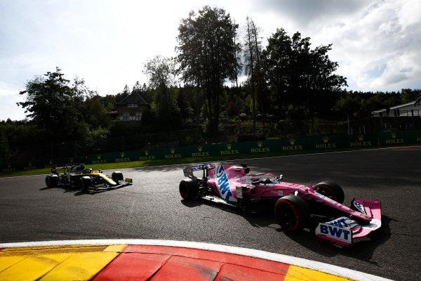 Sergio Perez, Racing Point RP20, leads Esteban Ocon, Renault R.S.20