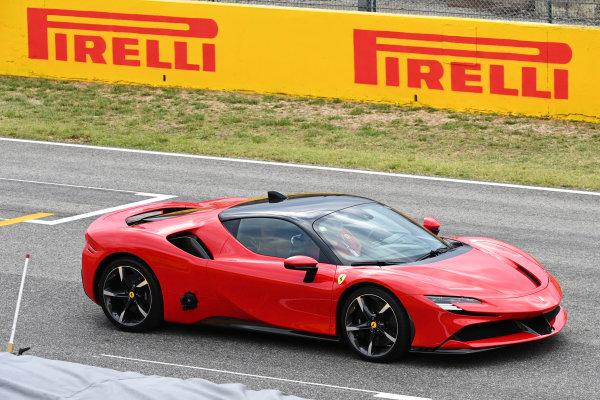 Charles Leclerc, Ferrari, drives a Ferrari SF90 Stradale