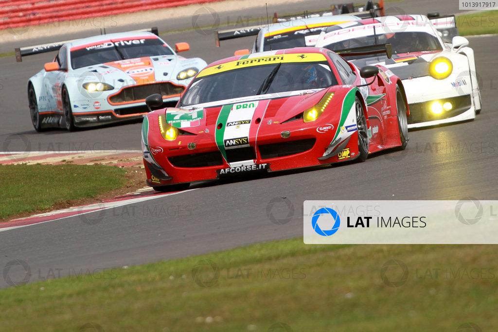 2013 FIA WEC Championship, Silverstone, Northamptonshire. 12th - 14th April 2013. Kamui Kobayashi / Toni Vilander AF Corse Ferrari 458 Italia World Copyright: Ebrey / LAT Photographic.